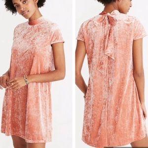 Madewell Crushed Velvet Mockneck Dress Pink